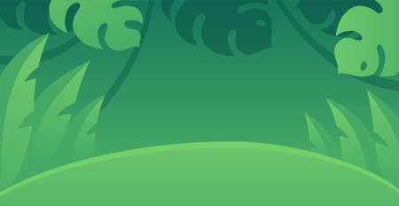 Cartoon rainforest background. Jungle plants and leaves, green tropical forest. Vector design for horizontal banner. Illustration