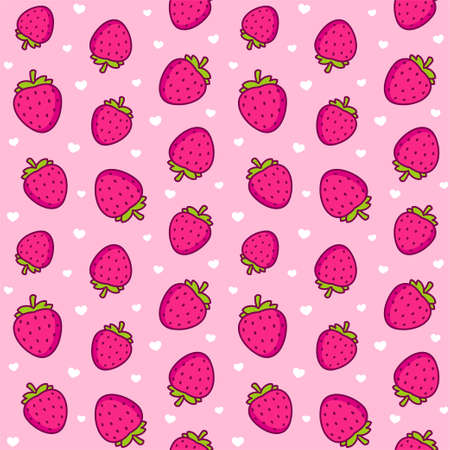 Cute cartoon strawberry pattern. Seamless texture of strawberries and little hearts on pink background. Vector clip art illustration.
