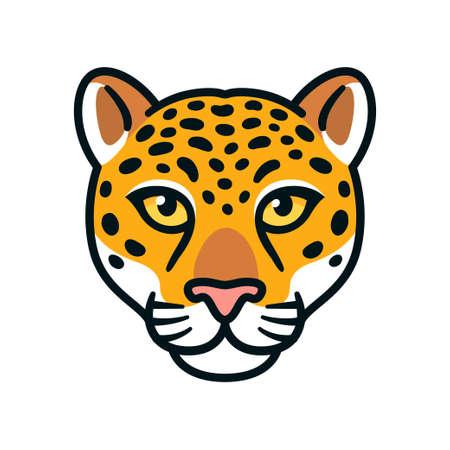 Cartoon jaguar or leopard head. Wild big cat face symbol, mascot or logo design. Isolated vector illustration.