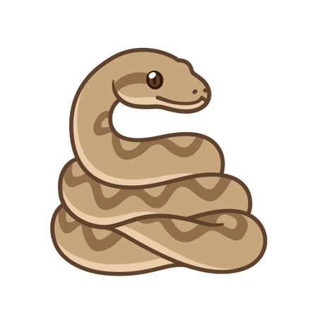 Cute cartoon snake drawing. Brown ball python or boa constrictor. Isolated vector clip art illustration.