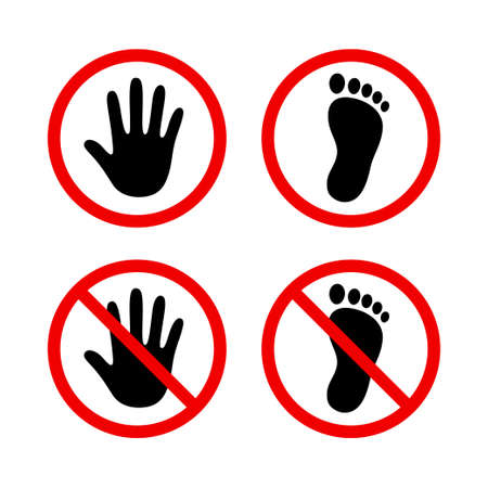 Human hand and foot in red circle, stop sign, do not touch, no walking. Simple black silhouette icons, vector illustration set. Illustration