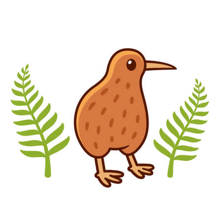 Cute cartoon kiwi bird drawing with silver fern leaves, national symbol of New Zealand. Isolated vector clip art illustration.