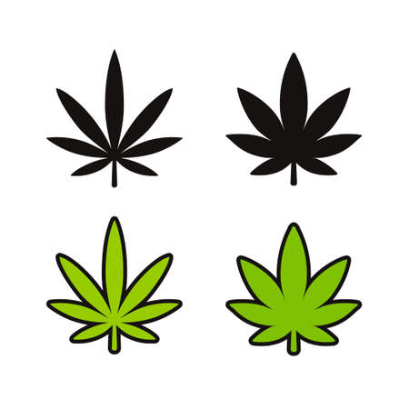 Cannabis leaf icon set. Two marijuana varieties, Indica and Sativa. Black and white silhouette and green cartoon line icons. Simple symbol vector clip art. Illustration