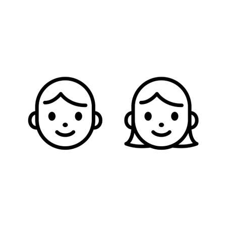 Cute cartoon male and female face icon set. Man and woman head line icons. Simple vector illustration.
