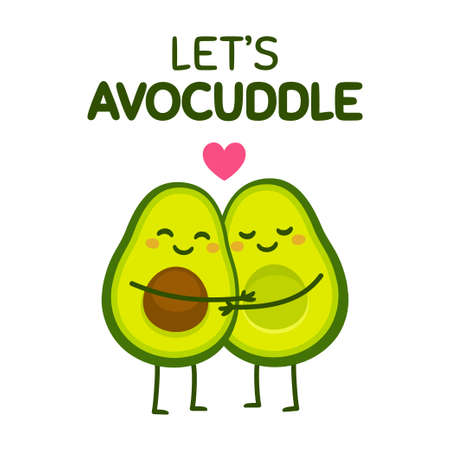 Cute cartoon avocado couple with text Let's Avocuddle. Two avocado halves in love, St. Valentines day greeting card drawing. Isolated vector illustration.