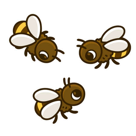Cute cartoon bees drawing set. Three honeybees vector clip art illustration isolated on white background.