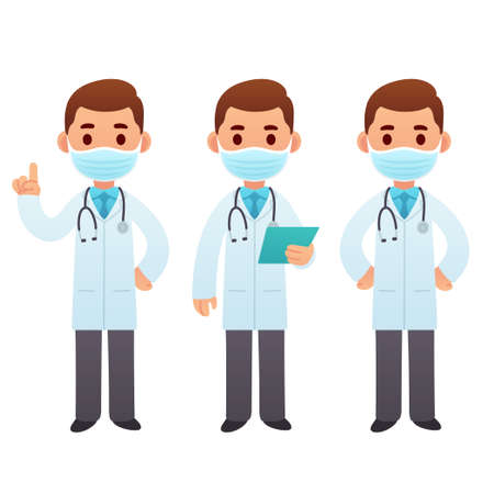 Cartoon doctor character illustration set. Male medic in face mask standing and pointing. Cute cartoon medical worker vector clip art.
