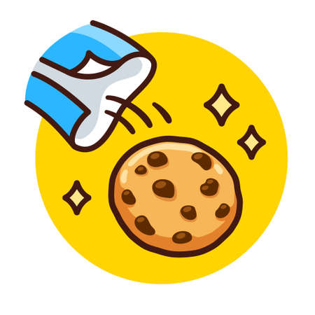 Chocolate chip cookie falling out of package. A última bolacha do pacote in Portugese, Brazilian slang for being special. Cartoon vector illustration. Illustration