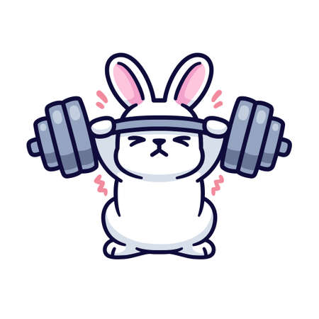 Gym bunny, cute cartoon white rabbit lifting heavy barbell. Funny fitness and exercise drawing, isolated vector illustration.