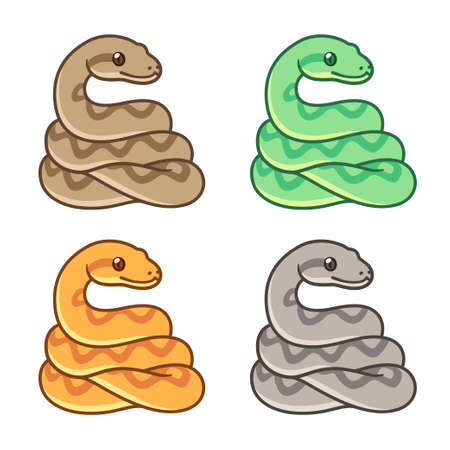 Cute cartoon snake drawing set, different colors. Ball python, boa constrictor, bright pet snake. Isolated vector clip art illustration.