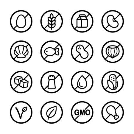 Set of ingredient and diet icons. Common allergens (gluten, dairy, soy, nut and more), sugar, salt and trans fat, vegetarian and organic symbols.