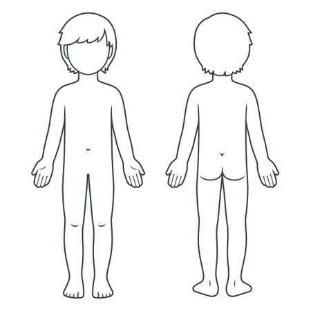 Nude child body chart, front and back view. Blank unisex children body template for medical infographic. Isolated vector illustration.