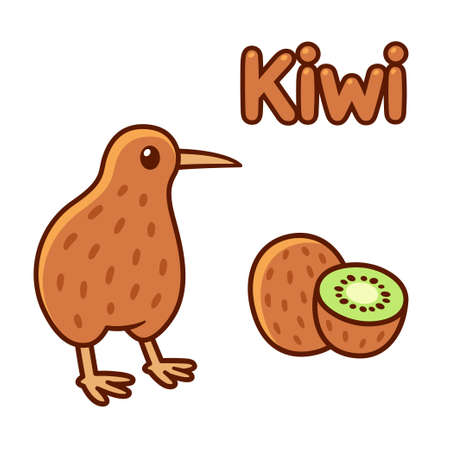 Cute cartoon kiwi bird and fruit drawing. Isolated vector clip art illustration. Illustration