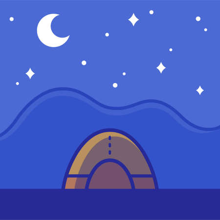 Camping tent on night landscape, sleeping under the stars. Outdoor travel vector illustration in simple flat cartoon style. Illustration