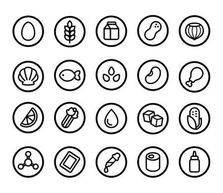 Set of allergy ingredient icons, common allergen warning. Gluten and nuts, eggs and dairy, artificial sweeteners and preservatives, and more. Simple line icon style. Illustration