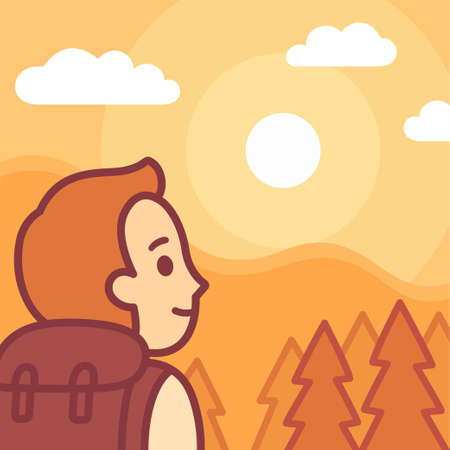 Cartoon hiker watching sunrise in nature. Outdoor trekking activity, cute and simple vector illustration.
