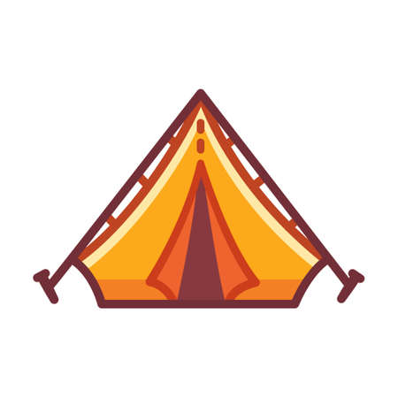 Cartoon camping tent icon. Yellow set up camp drawing. Isolated vector clip art illustration. Illustration