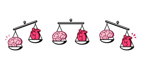 Brain and heart on scales. Balance between logic and emotion, thinking and feeling. Isolated vector clip art illustration. Ilustração
