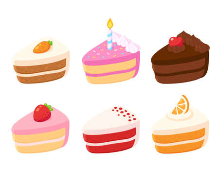 Different cake slices set. Cute cartoon dessert with fruit and chocolate, birthday and carrot cake, red velvet. Isolated vector illustration.