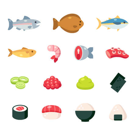 Japanese food ingredients cartoon icon set. Fish and seafood, sushi and rice dishes, cute simple vector illustrations.
