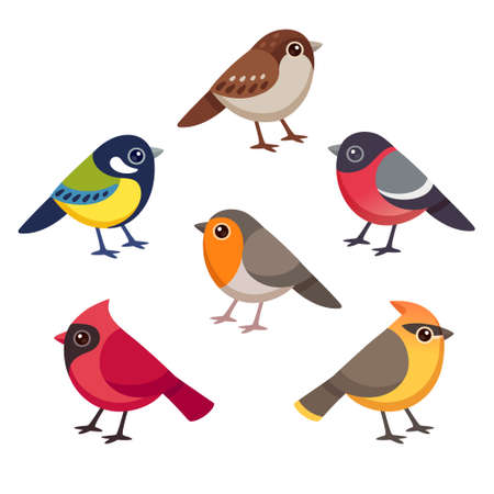 Set of cute cartoon small birds. Simple style drawing, isolated clip art vector illustration.