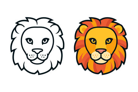 Cartoon lion head, color and black and white. Mascot face front view, design element. Isolated vector clip art illustration.