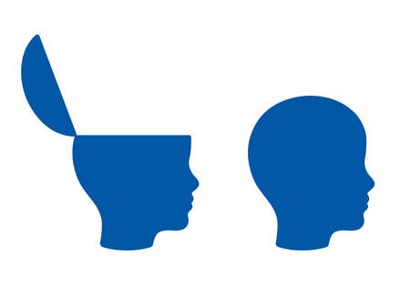 Open head with copy space, education concept. Child head profile silhouette illustration.
