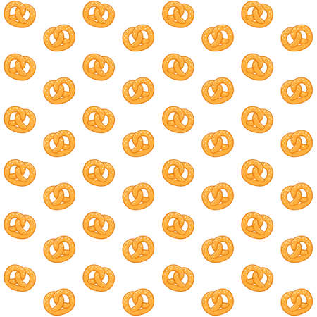 Seamless pretzel pattern on white background.