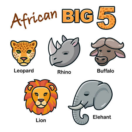 African Big Five animal heads cartoon set. Lion, Leopard, Elephant, Rhino and Buffalo. Isolated vector clip art illustration.