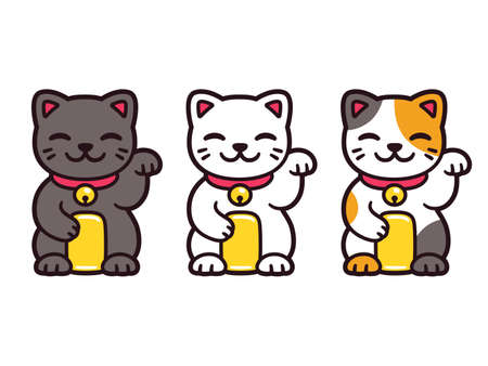 Cute cartoon Maneki Neko, Japanese lucky cats. Black, white and calico Feng Shui kitty. Isolated vector illustration set.