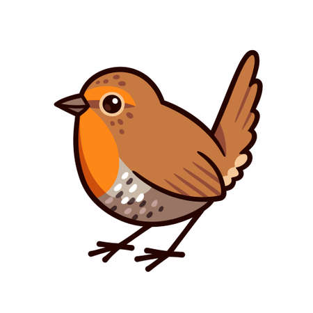 Chucao tapaculo, little bird native to Chile. Cute cartoon drawing, isolated vector illustration. Vectores