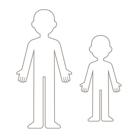 Simple cartoon blank body template. Adult and child figure outline. Isolated vector clip art illustration.