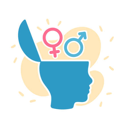 Open head with gender symbols, education and understanding of gender roles. Head profile silhouette illustration. Vectores