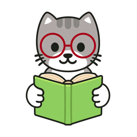 Cute cartoon cat in glasses reading a book. Adorable illustration for children, isolated vector clip art. Vectores