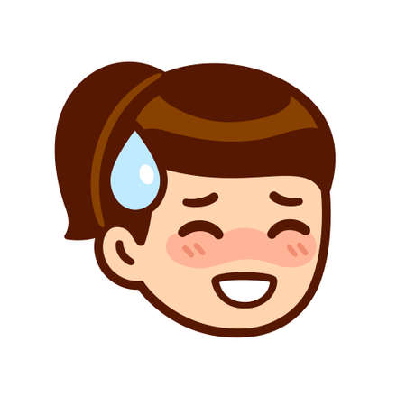 Embarrassed blushing girl face with drop of sweat, kawaii anime expression. Cute cartoon shy girl, vector clip art illustration. Vectores