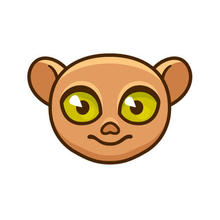 Cute cartoon Philippine tarsier face with funny big eyes. Simple vector clip art illustration.