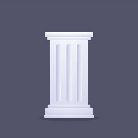 Classic Greek or Roman column. Ancient doric pillar isolated on dark background. Vector clip art illustration.