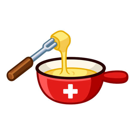 Swiss cheese fondue with flag of Switzerland on cast iron pot, dipping food in melted cheese. Cartoon vector clip art illustration. Vectores