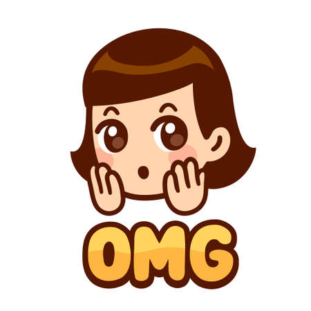 Surprised girl face with text OMG. Cute cartoon anime character with shocked expression. Isolated vector clip art illustration.