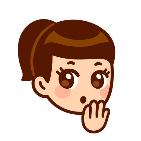 Surprised girl face with hand covering mouth. Cute cartoon anime character with shocked Oops! expression. Isolated vector clip art illustration.