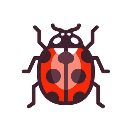Vector ladybug icon, simple flat design illustration.
