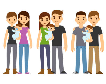 Cute cartoon couples, gay and heterosexual, holding baby. Diverse families, same sex adoption. Isolated vector clip art illustration.