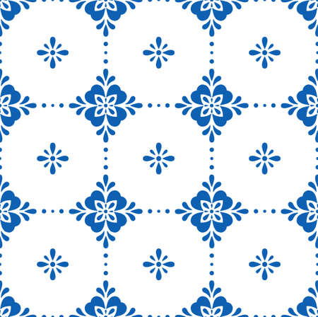 White and blue ceramic tile seamless pattern. Simple geometric floral ornament. Vector illustration.