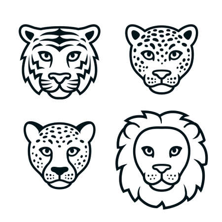 Big wild cats face set, black and white logo. Lion, tiger, leopard, cheetah heads. Isolated vector clip art illustration.