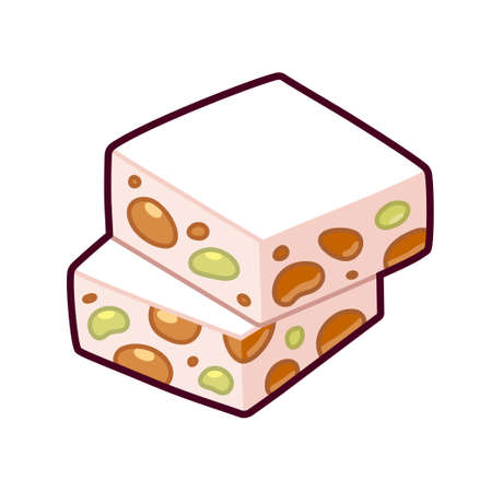 Nougat or torrone, nut candy drawing. Isolated cartoon vector illustration.