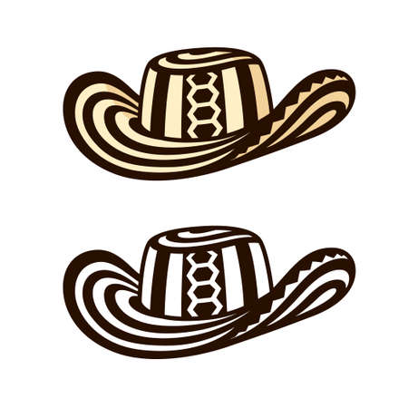 Sombrero Vueltiao, traditional Colombian hat. Black and white and color drawing, vector clip art illustration.