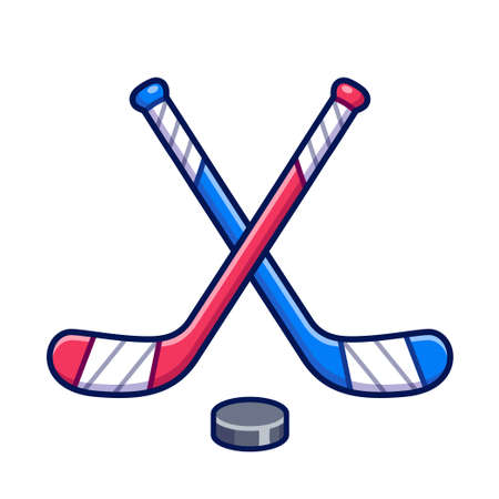 Ice hockey symbol, two crossed hockey sticks and puck. Red vs blue game. Simple and cute vector clip art illustration.