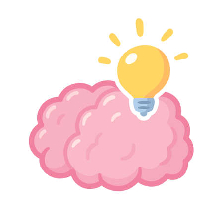 Cartoon brain with lightbulb, bright idea. Creative thinking and problem solving. Isolated vector clip art illustration.