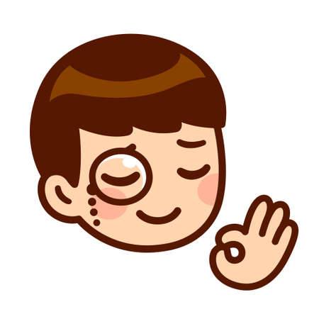 Funny cartoon face of cute anime boy with monocle and OK finger gesture. High class, good taste approval sign. Isolated vector clip art illustration. Vectores