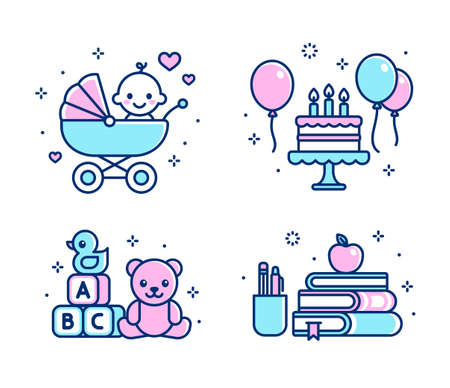 Childhood icon set. Baby in stroller, birthday cake, toys, school supplies. Simple cartoon line icons, isolated vector illustration.